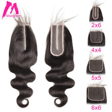 Brazilian Human Hair Lace Closure Body Wave 5x5 6x6 2x6 4x4 Lace Closure With Pre Plucked Baby Hair Bleached Knot Free Shipping(China)