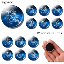 Classic 30 MM Glass Dome 12 Constellation Pattern Refrigerator Decoration Magnetic Stickers Fridge Magnet Birthday Gift Souvenir
