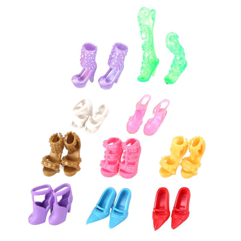 10 pcs Baby Toys Mixed Fashion Colorful High Heels Sandals For Barbie Accessories Doll Shoes Dress Clothes for Barbie Dolls