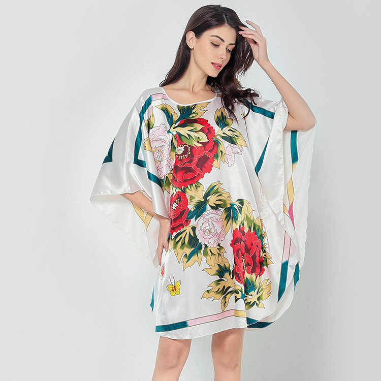 e21d6af309799 Novelty Print Black Female Satin Robe Dress Nightgown Novelty Women Kaftan  Bath Gown Summer 2019 Lounge Homewear Plus Size 6XL