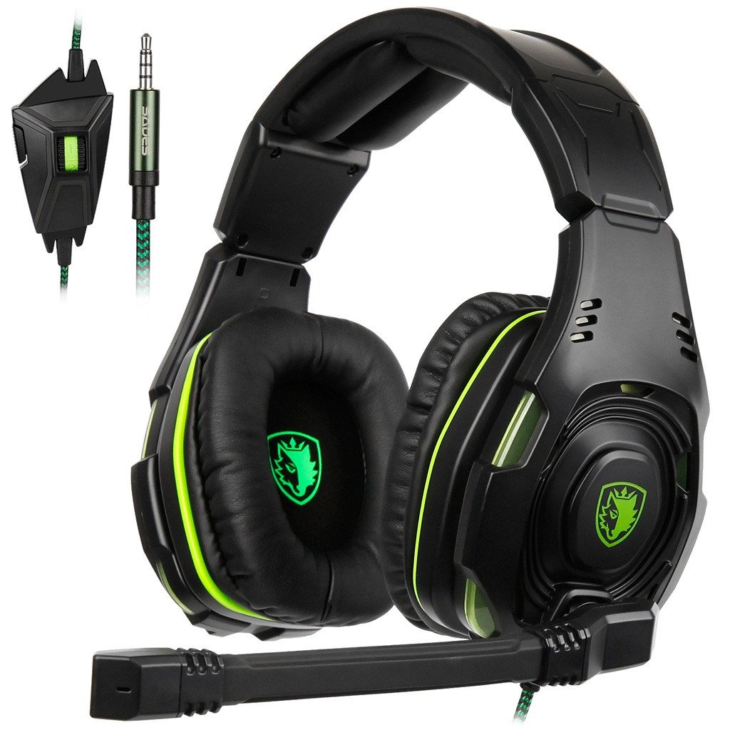 SADES SA938 Wired Gaming 3.5 Headphones With Microphone Stereo Music Earbuds Stereo Gaming Earphone For PS4
