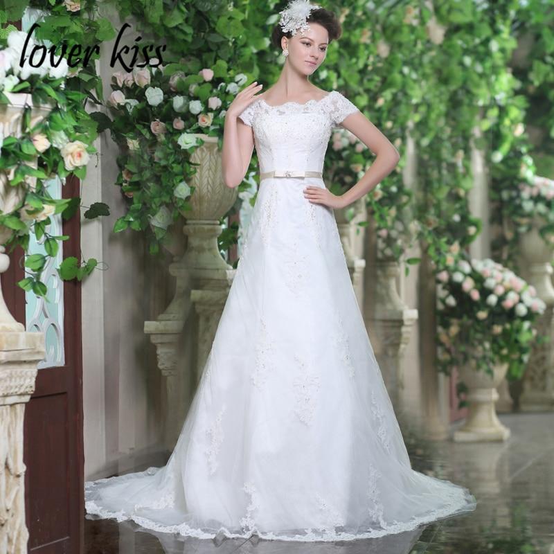 Lover Kiss Vestido De Noiva Princesa 2018 Off The Shoulder Short Sleeve Wedding Dress Pearls Corset Waist Bridal Gowns Beaded