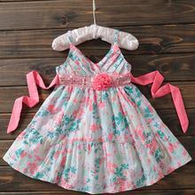 Новое летнее Хлопковое платье для девочек детское облегающее платье с бретельками