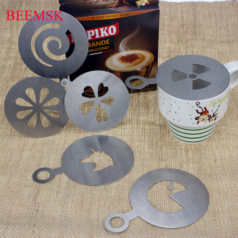 BEEMSK 4Pcs Set Stainless Steel Coffee Stencils Chocolate Cake Mold Barista Cappuccino Coffee Latte mold barista tools 8 5cm in Coffee Stencils from Home Garden