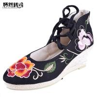 של נשים בציר משאבות נעלי טריזים הלאומיים פקין הישנה רטרו עם עקבים גבוהה נעלי ריקוד פרח תחרה עד בד רך