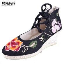 Винтажные женские туфли-лодочки национальные клинья обувь ретро в стиле «Старый Пекин» на высоком каблуке парусиновые туфли на шнуровке танец цветов Мягкая обувь