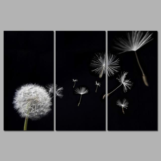 Dandelion Flower Flying Black And White Decoration Canvas Paintings