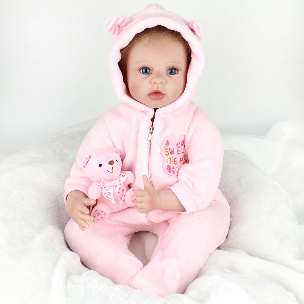 Silicone Reborn Dolls Toys For Children 22'' Handmade Pink Clothes Soft Baby Alive Newborn Reborn For Sale Princess Doll adorable soft cloth body silicone reborn toddler princess girl baby alive doll toys with strap denim skirts pink headband dolls