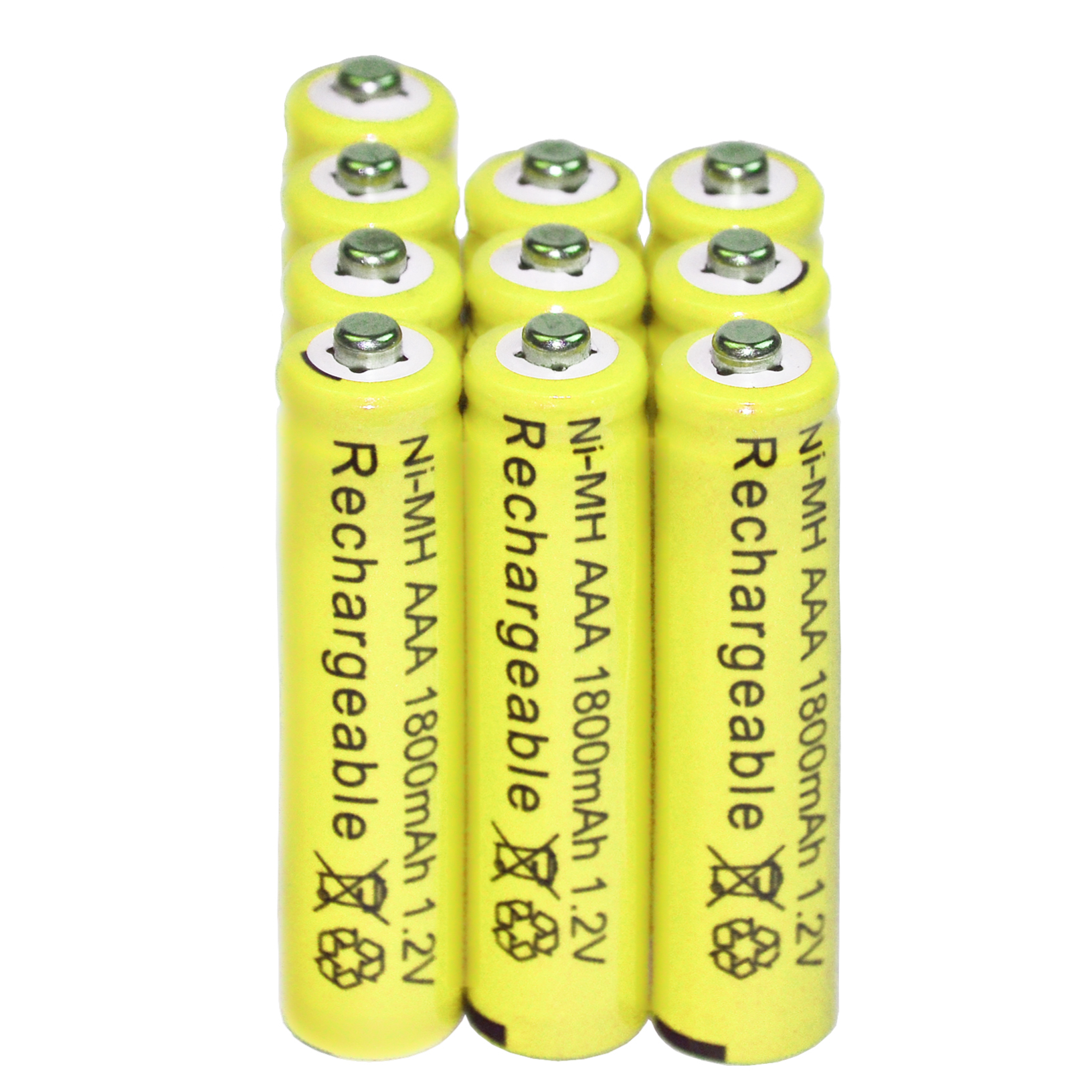 10x AAA battery batteries Bulk Nickel Cadmium Rechargeable NIMH 1800mAh 1.2V Yellow ...