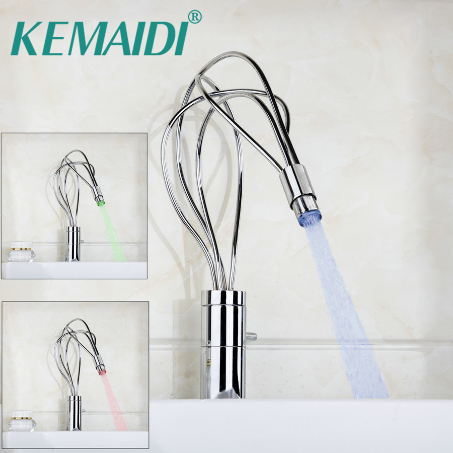 KEMAIDI Twist LED Bathroom Basin Sink Tap Stream Spout torneira Mixer Brass Chrome Water Faucet Deck Mounted led spout swivel spout kitchen faucet vessel sink mixer tap chrome finish solid brass free shipping hot sale