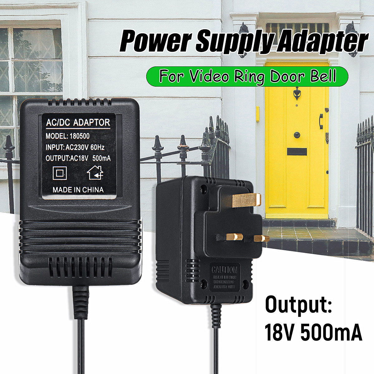AC 18V 500mA 9W Output UK Power Supply Adapter Transformer Easy Installation for Video Ring Doorbell acne studios купальный бюстгальтер