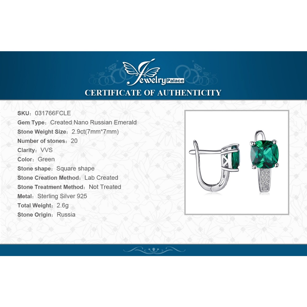 JewelryPalace Cushion 3.1ct Created Green Emerald Clip On Earrings 925 Sterling Silver Fine Jewelry for Women Accessories 5
