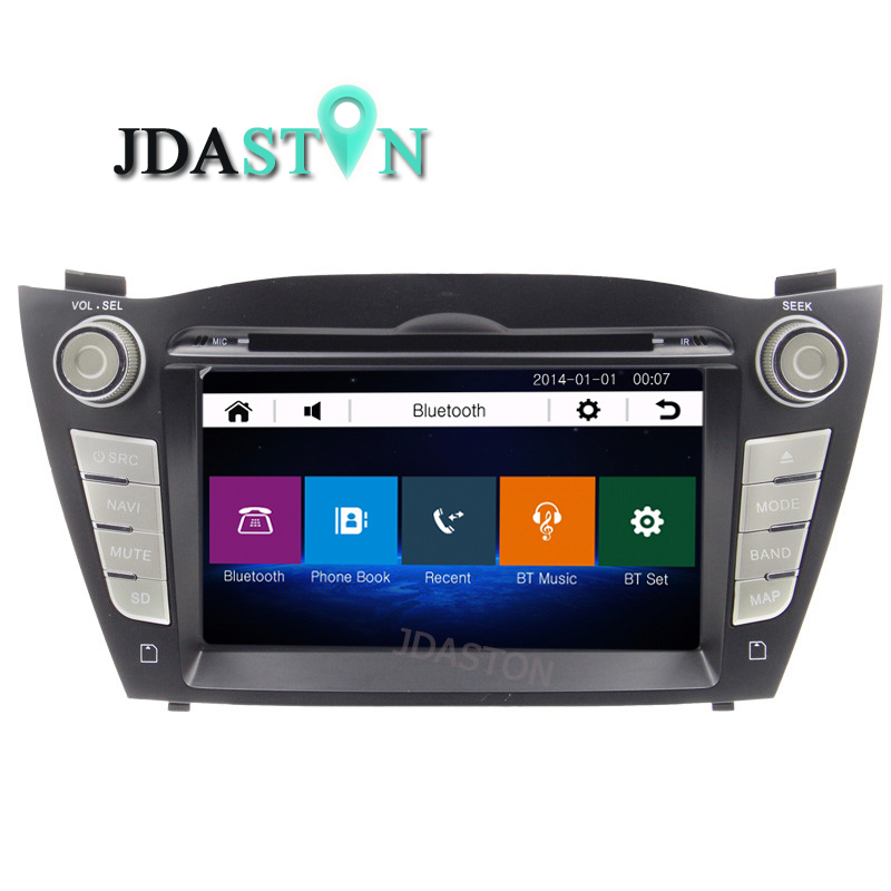 JDASTON Car DVD CD Player For Hyundai iX35 Tucson 2009-2015 Bluetooth 1080P GPS Radio Autoaudio Naviagtion Touch Screen USD SD