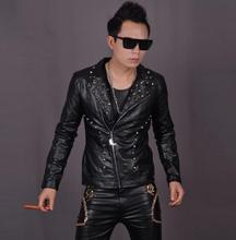 Skull punk rock black Rivets men faux leather jacket slim for the mens leather jackets and Oblique zipper coats motorcycle pu