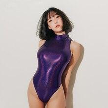 2019 Sexy Satin Glossy Fetisch Body Suit High Cut Zip Open Zentai Women Glitter Cosplay Anime Shiny Catsuit Sukumizu Bathing