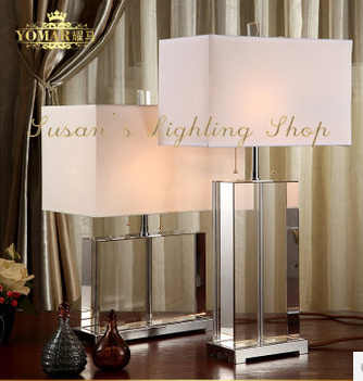Modern Crystal Table Lamp Living Room Bedside Desk Light Square Crystal Body White Fabric Shade