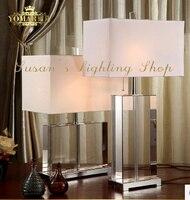 Современные хрустальные настольные лампы Гостиная прикроватные тумбочки, Рабочий стол света квадратных кристалл тела белый оттенок ткани