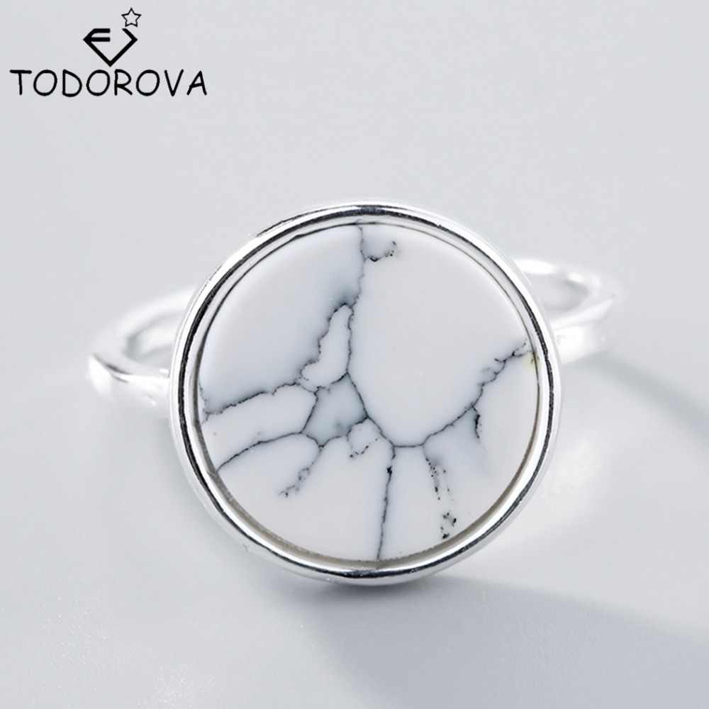 Todorova Female Fashion Ring Men Jewelry Natural Single White Round Stone Adjustable Rings for Women