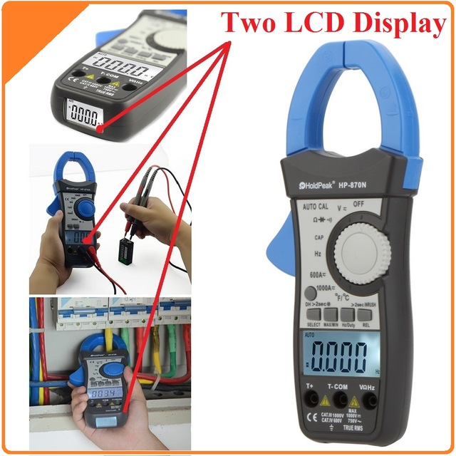 HoldPeak HP870N Auto Range DC AC Digital Clamp Meter Multimeter Pinza True RMS Frequency capacitance resistance meter Backlight mini multimeter holdpeak hp 36c ad dc manual range digital multimeter meter portable digital multimeter page 2