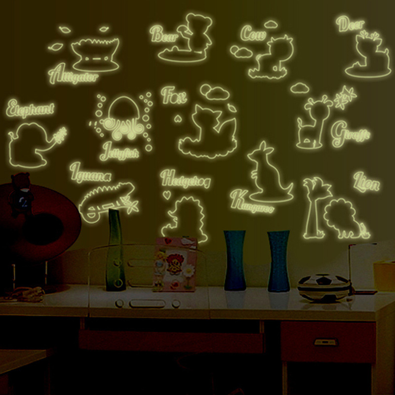 Luminous Cartoon Jungle Wild Animal 26 Letters Alphabet Animals Wall Stickers for Kids Rooms Home Decor Living Room Children 3d in Wall Stickers from Home Garden