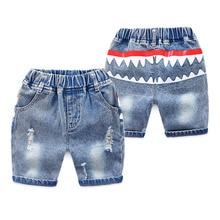 New Baby Boys Cartoon Shark Jeans Short Pants Kids Summer Light Blue Denim Shorts For Boy Elastic Waist Casual Children Clothing