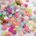 Mixed Color 100pcs/lot 10mm Half Round ABS Imitation Pearl Beads Fake Sunflower Flat Back Scrapbook Craft DIY Jewelry Findings