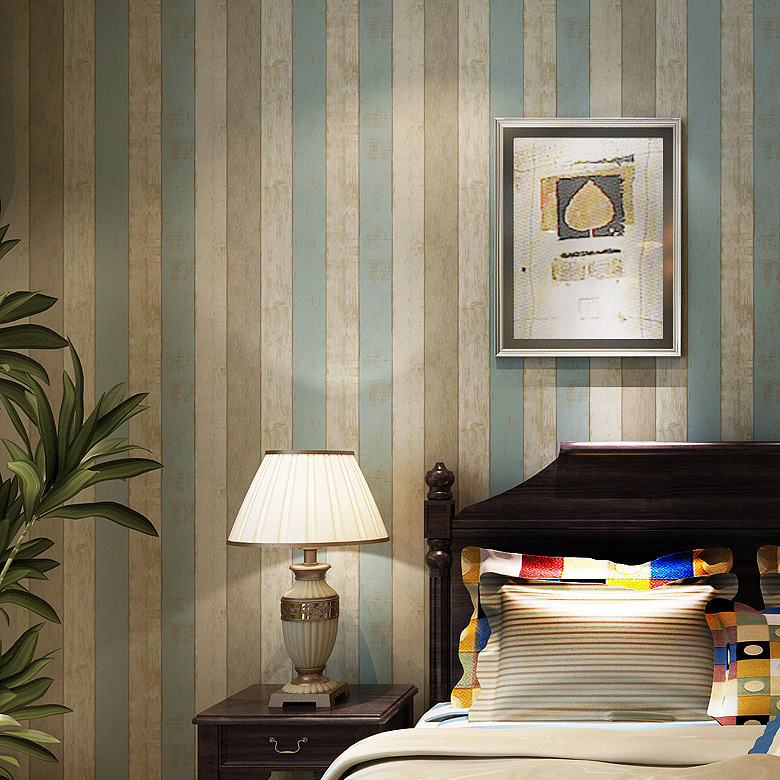 Designer Realistic Wood Panel Stripes Vintage Wallpaper