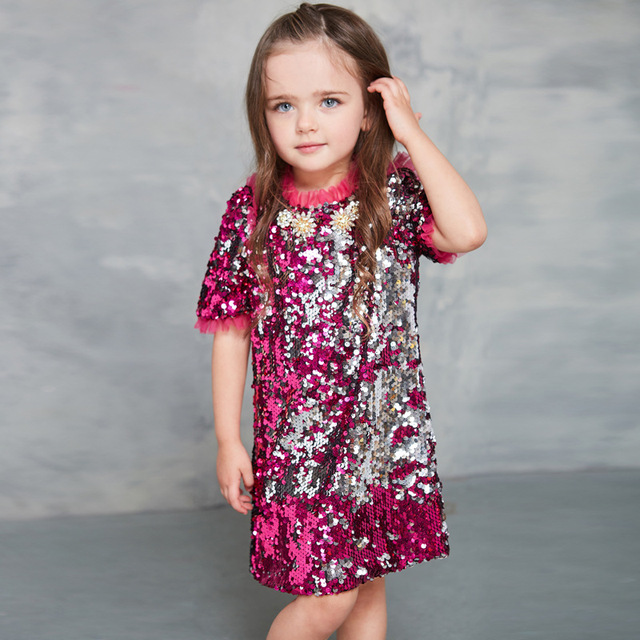 2017 Fashion Children clothing girls dresses kids Rose red Two-color sequins Short sleeve Beading dress for baby