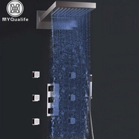 Widespread Wholesale And Retail Luxury LED Color Change Thermostatic Waterfall Rain Shower Faucet Massage Jets Hand