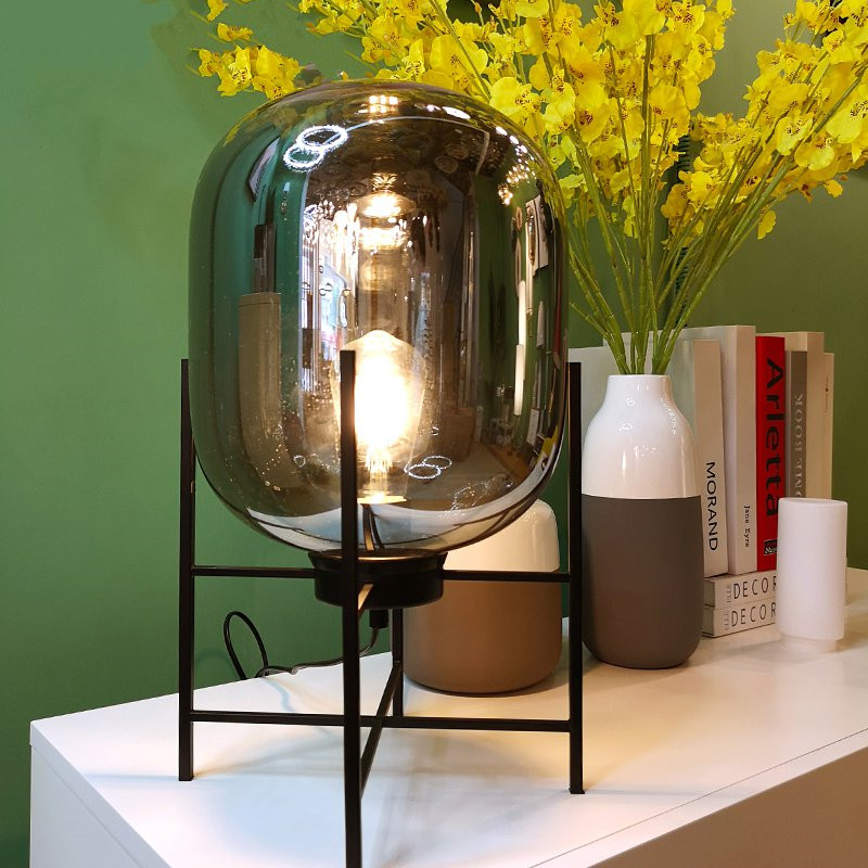 Modern table lamp glass shade novelty desk lamp for living - Modern lamp shades for living room ...