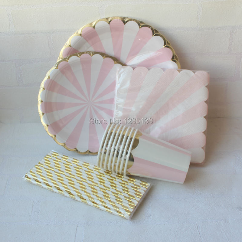 pink gold foil beverage paper party cups straws dinner plates napkins pink striped cocktail. Black Bedroom Furniture Sets. Home Design Ideas