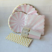 Pink Gold Foil Beverage Paper Party Cups Straws Dinner Plates Napkins Pink Striped Cocktail Party Supply Tableware