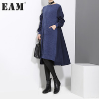 EAM 2018 New Spring Round Neck Long Sleeve Back Pleated Split Joint Irregular Loose Blue