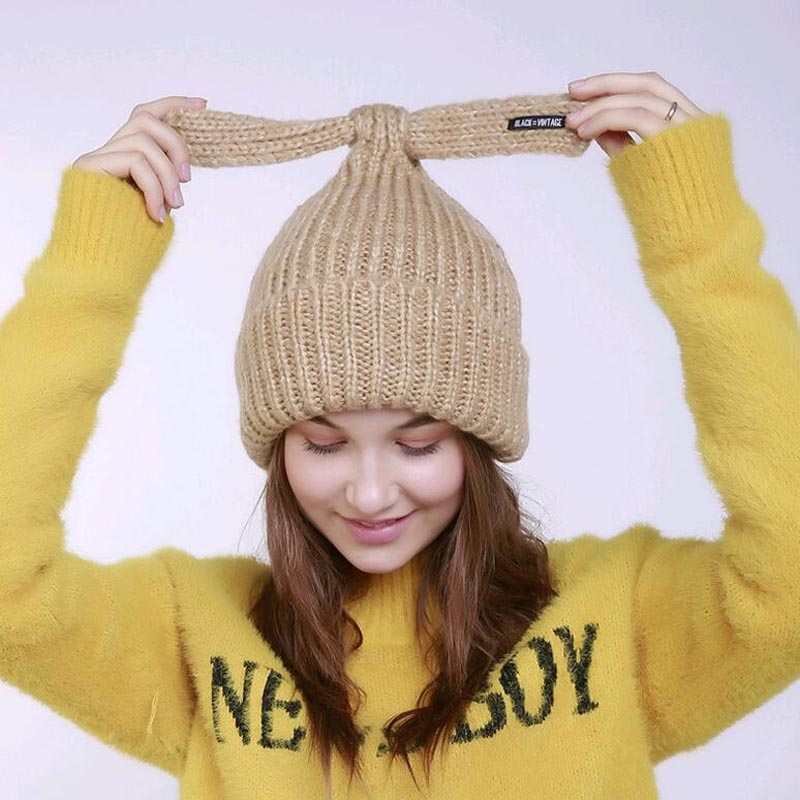 2017 New Rabbit ear knitted hat girls lovely hat lady warm hat winter beanies cap female hat gorro Cute 2017 of the latest fashion have a lovely the hat of the ear lovely naughty lady s hat women s warm and beautiful style