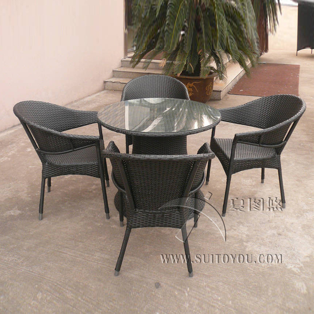 5 Pcs Wicker Rattan Garden Dining Sets Comfortable Cane Furniture Transport By Sea