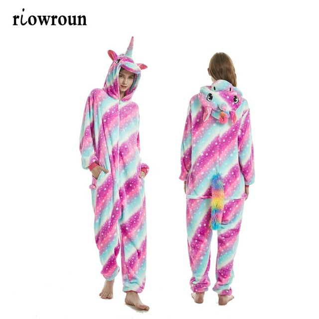 33ea4f1cdf01 2018 New Onesie Wholesale Animal Kigurumi Stitch Star Unicorn onesies Adult  Unisex Women Hooded Sleepwear Adult Winter Flannel