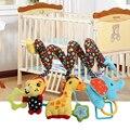 Chocalhos de bebê multicolor bebê iq brinquedo aprendizagem precoce desenvolvimento elefante macaco cama berço pendurado plush toys com sino
