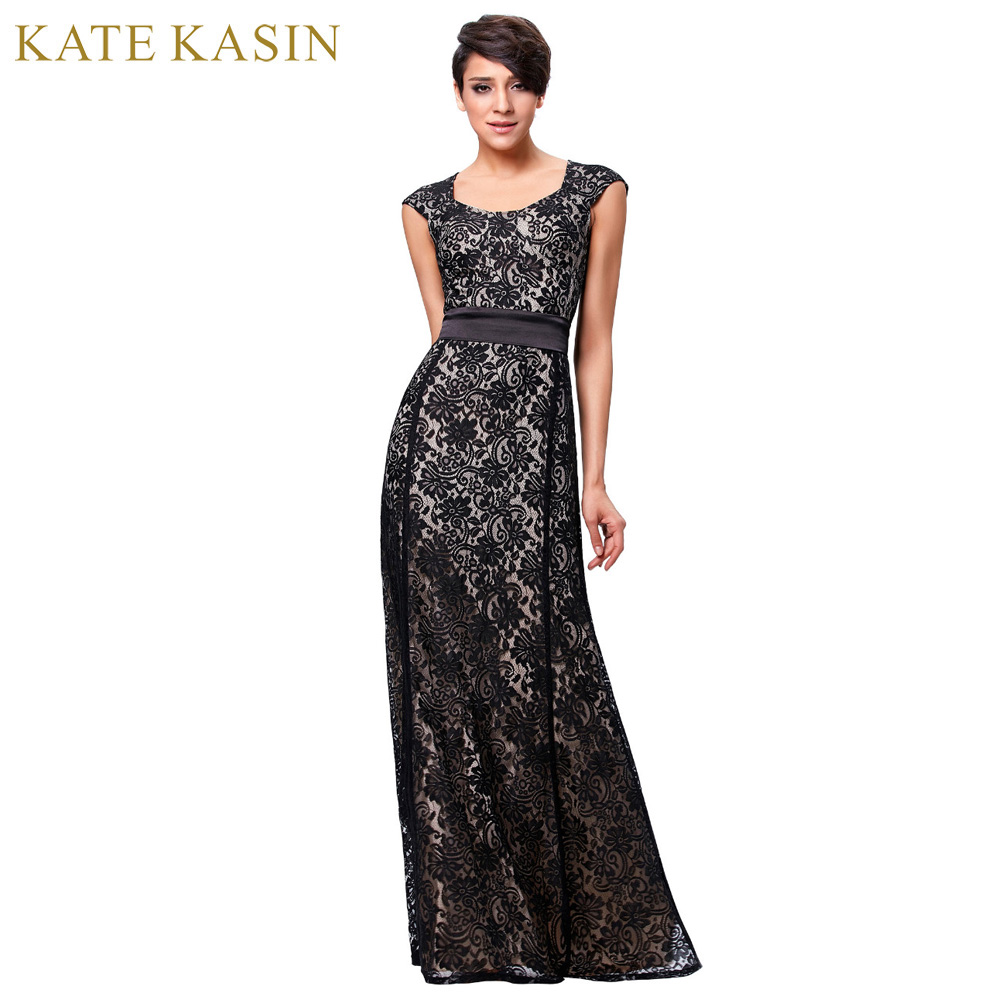 Free delivery black dress party elegant long lace evening for Long sleeve dresses for wedding party