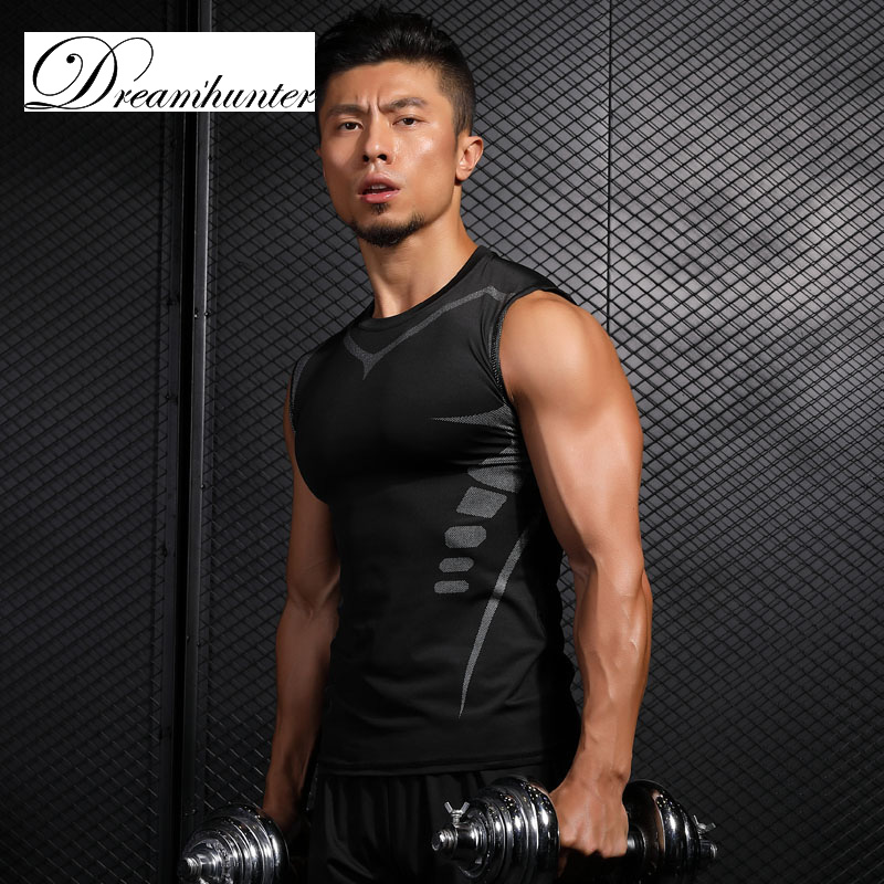 Sleeveless Pro Crossfit Tank Tops Men Quick Dry Vests Breathable Compression Shirts Fitness Workout Clothings Sportswear
