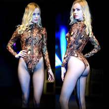 XL Plus Size Snake Milk Silk Long Sleeve Bodysuit High Cut Bodystocking Sexy Erotic