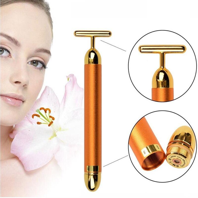 Beauty Care Vibration face Massager 24K Beauty Bar Golden Derma Energy Face Firming Facial Roller Massager thin face Stick