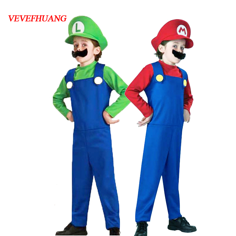 VEVEFHUANG Halloween Costumes Funny Super Mario Luigi Brother Costume Kids Children Boys Girls Fantasia Cosplay Jumpsuit