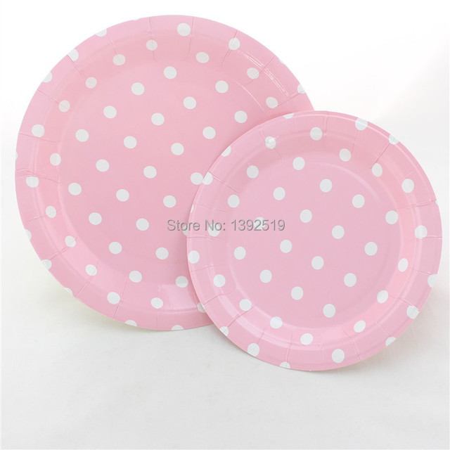 Free Shipping 48pcs Baby Pink Dot Paper Plates Retro Party Plates 7\  Round Polka Dot & Free Shipping 48pcs Baby Pink Dot Paper Plates Retro Party Plates 7 ...