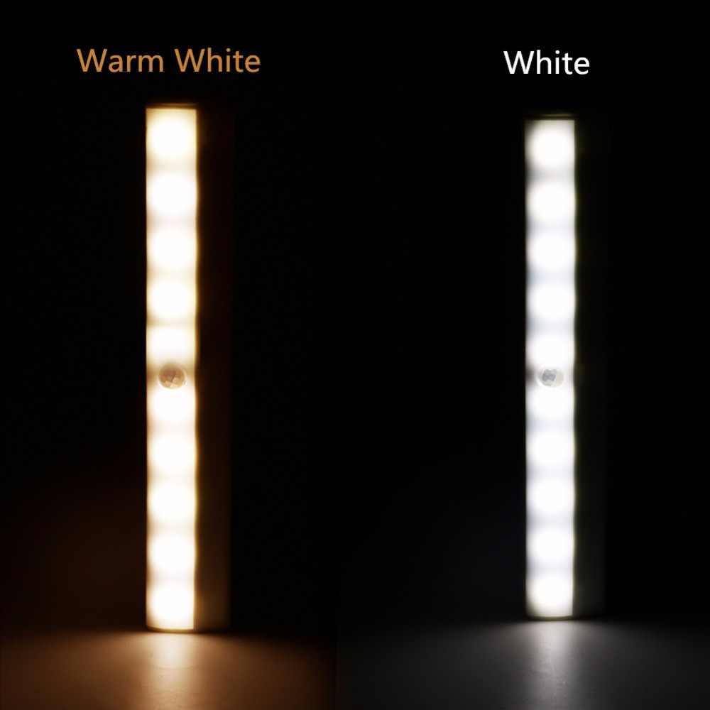 Датчик движения ночник Портативный 10 Светодиодный светильник для шкафа светильники с питанием от аккумулятора беспроводной шкаф ИК инфракрасный детектор движения настенный светильник