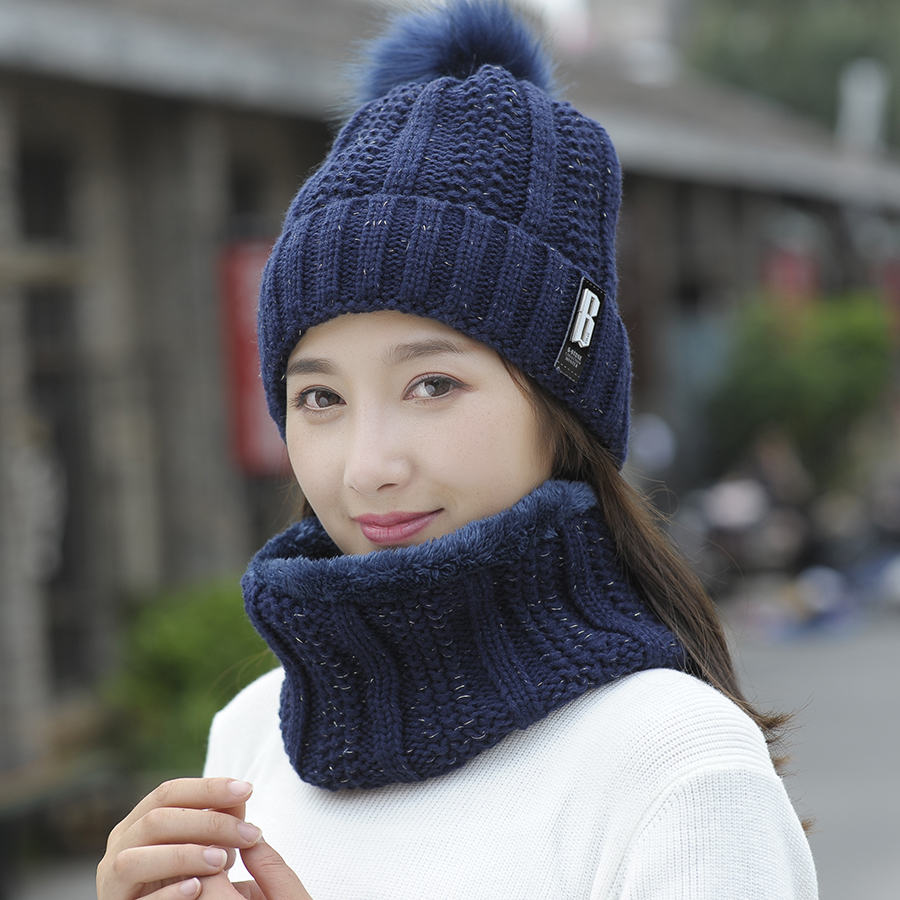 2018 Winter Women's Hat Caps Knitted Wool Warm Scarf Thick Windproof Balaclava Multi Functional Hat Scarf Set For Women