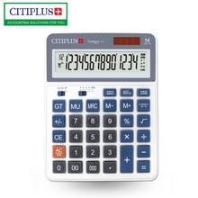 New C-4 Desktop Dual Power 14 Digits Calculator Solar Calculadora for Corporate Office Individual Merchant School Calculators key bench calculator 5500 calculator solar dual power metal surface office electronic calculators for financeira school