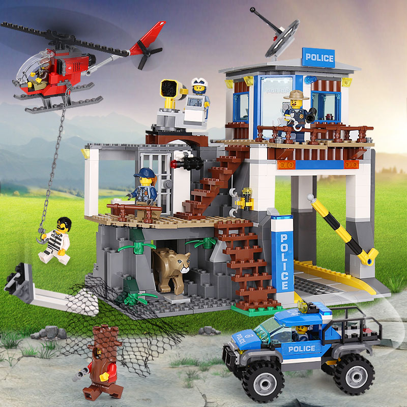 Lepin 02097 City Series The Mountain Police Headquater Set Compatible legoing 60174 Building Blocks Bricks Children Gifts Toys