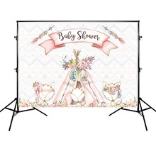 Newborn Baby Shower Backdrop Beautiful Foxes Background Photography Backdrops Photocall Professional customize