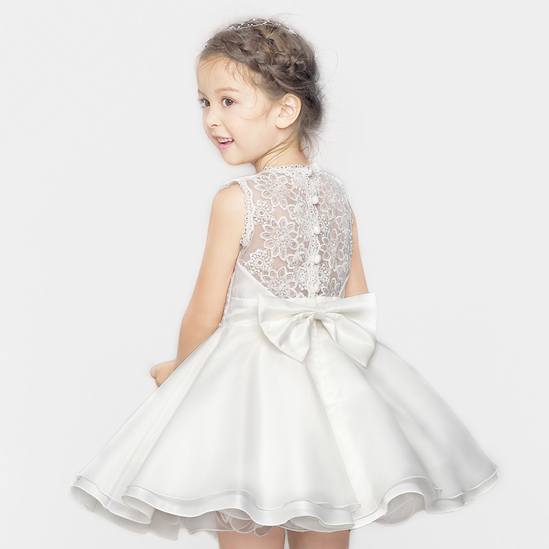 White Sleeveless HoLLOW Lace Princess Dress Flower Girl Dresses for Wedding Party Performance Show 2015kid girls high grade dress lace flowers hollow out sleeveless dress flower girl dresses l 63