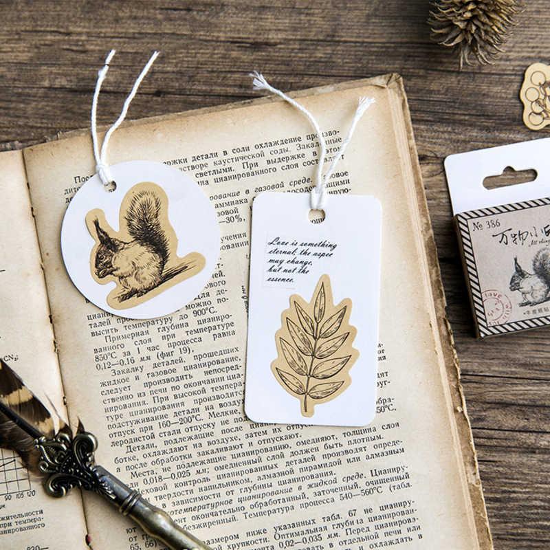 46 pçs/lote diário animal do vintage kawaii bonito esquilo coruja planta diário decoração adesivos scrapbooking adesivo para crianças